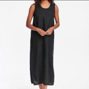 Flax Black Linen Slipster Maxi Dress